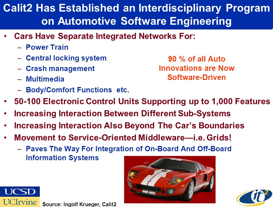Calit2 Has Established an Interdisciplinary Program on Automotive Software Engineering Cars Have Separate Integrated Networks For: –Power Train –Central locking system –Crash management –Multimedia –Body/Comfort Functions etc.