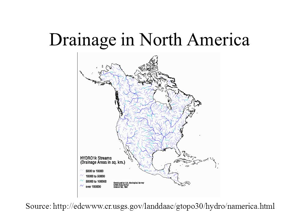 Drainage in North America Source: