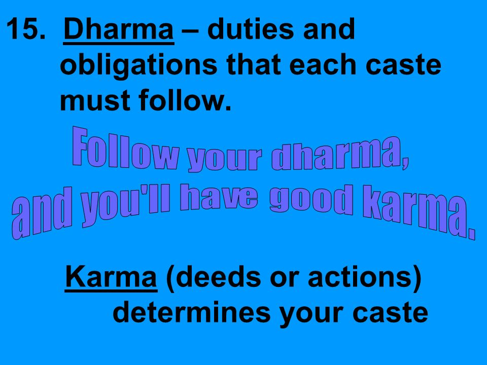 15. Dharma – duties and obligations that each caste must follow.