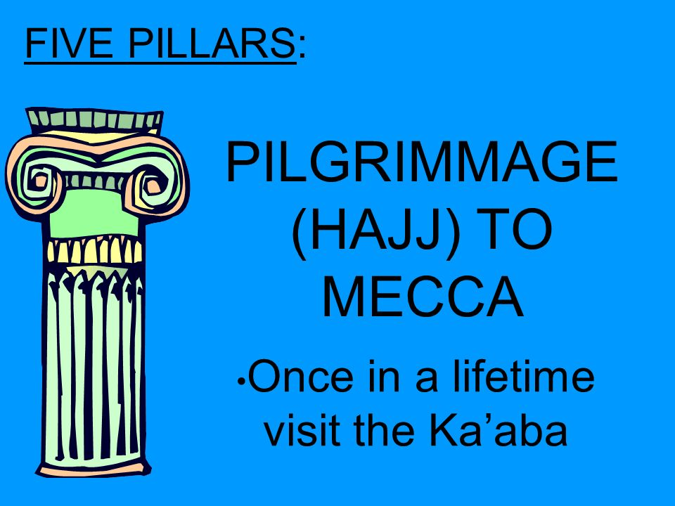 FIVE PILLARS: PILGRIMMAGE (HAJJ) TO MECCA Once in a lifetime visit the Ka'aba