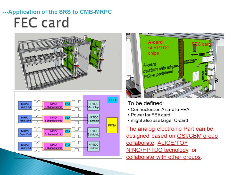 A-card 4 HPTDC chips FEC card To be defined: Connectors on A card to FEA Power for FEA card might also use larger C-card ---Application of the SRS to CMB-MRPC The analog electronic Part can be designed based on GSI/CBM group collaborate, ALICE/TOF NINO/HPTDC tecnology, or collaborate with other groups.