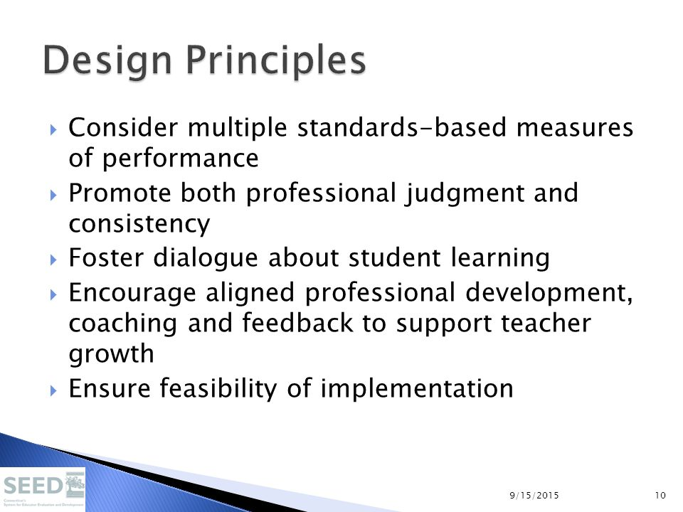  Consider multiple standards-based measures of performance  Promote both professional judgment and consistency  Foster dialogue about student learn