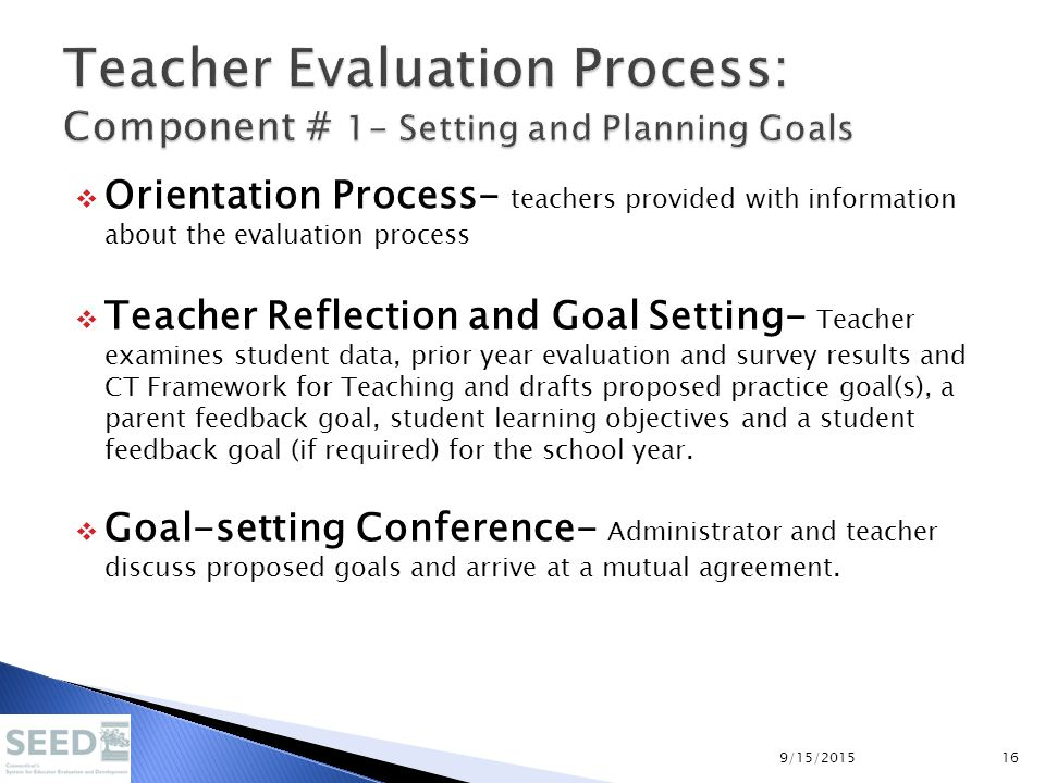  Orientation Process- teachers provided with information about the evaluation process  Teacher Reflection and Goal Setting- Teacher examines student