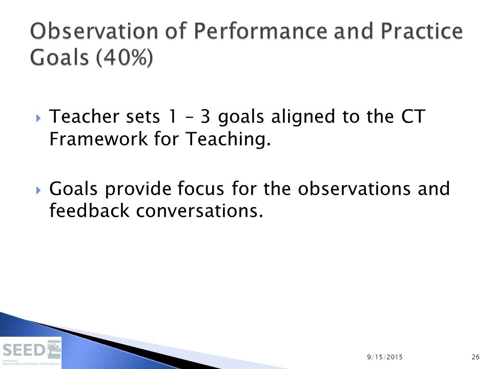  Teacher sets 1 – 3 goals aligned to the CT Framework for Teaching.  Goals provide focus for the observations and feedback conversations. 9/15/20152