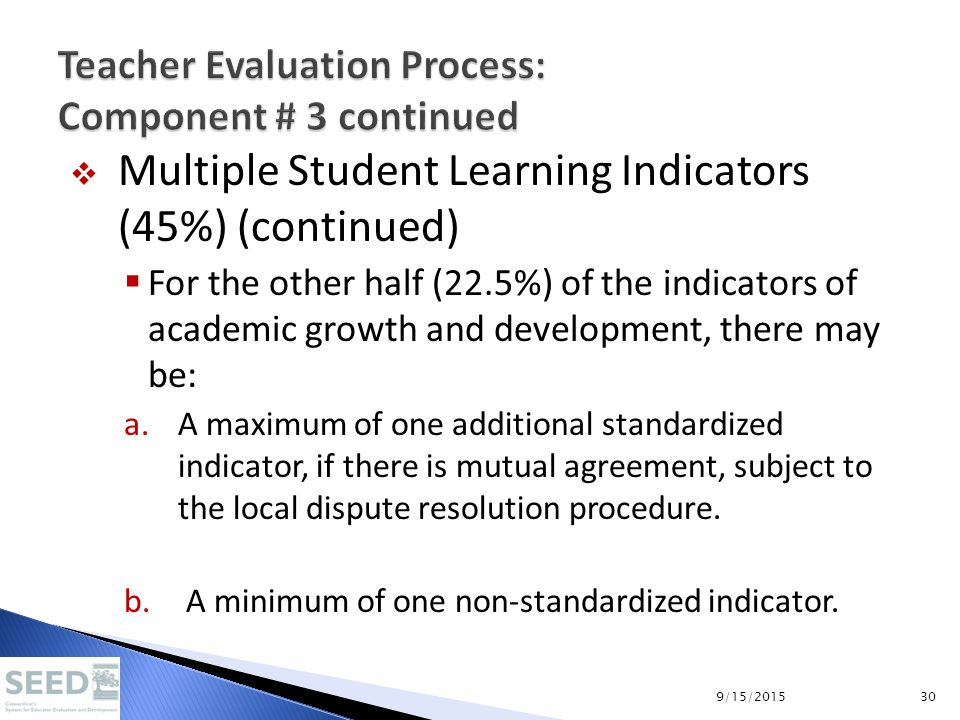 Multiple Student Learning Indicators (45%) (continued)  For the other half (22.5%) of the indicators of academic growth and development, there may