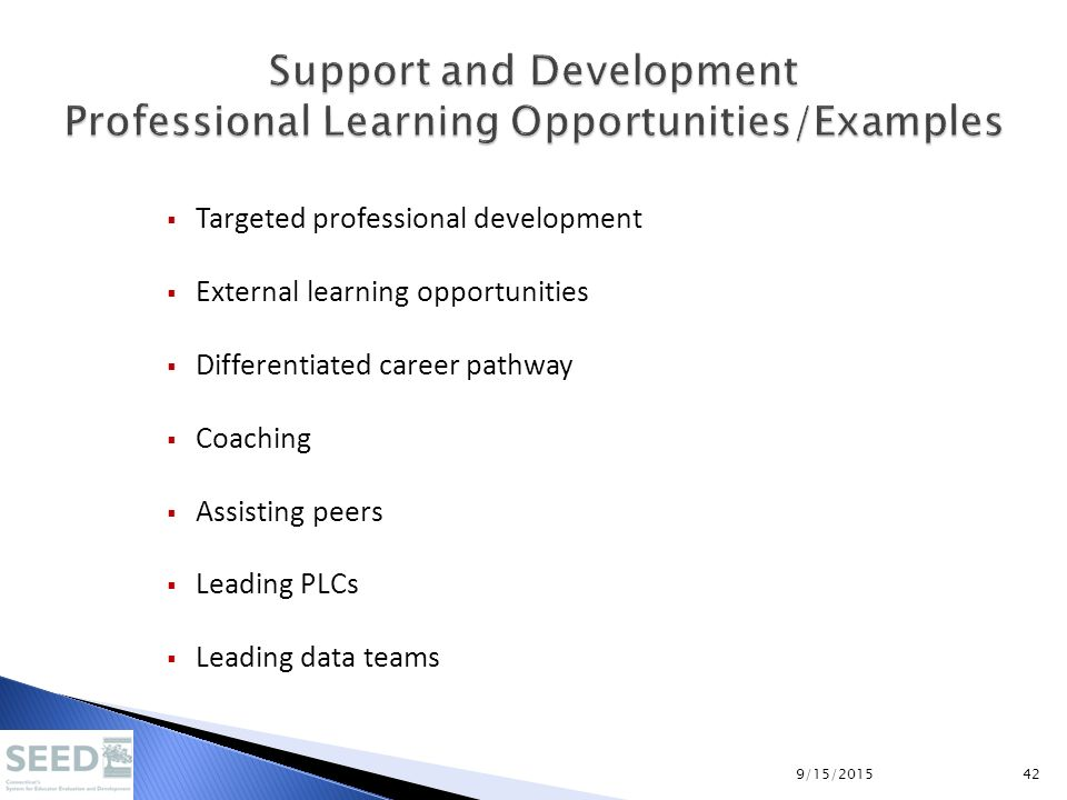  Targeted professional development  External learning opportunities  Differentiated career pathway  Coaching  Assisting peers  Leading PLCs  Le
