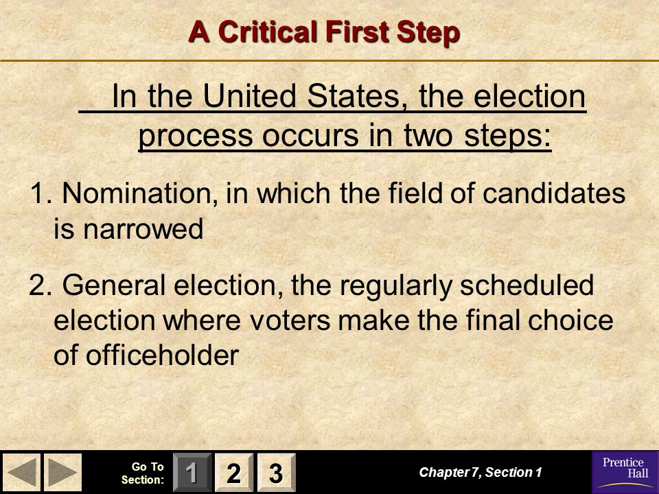 123 Go To Section: A Critical First Step Chapter 7, Section In the United States, the election process occurs in two steps: 1.