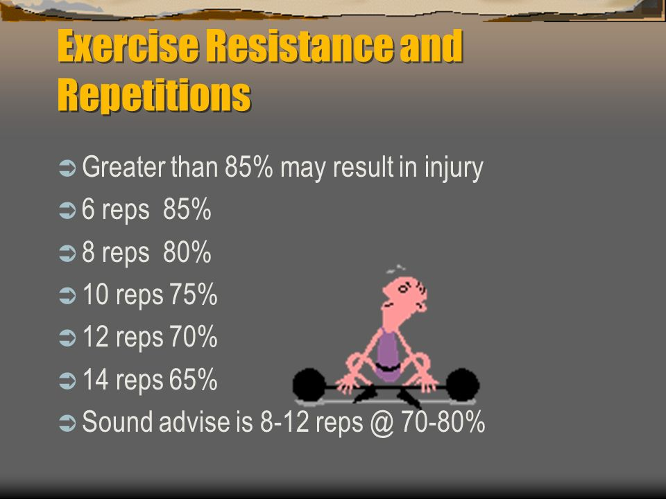 Exercise Sets  One set exercise Continue to momentary muscle failure (Time Factor)  Multiple set exercise One to three minutes rest between sets (Calorie expenditure)
