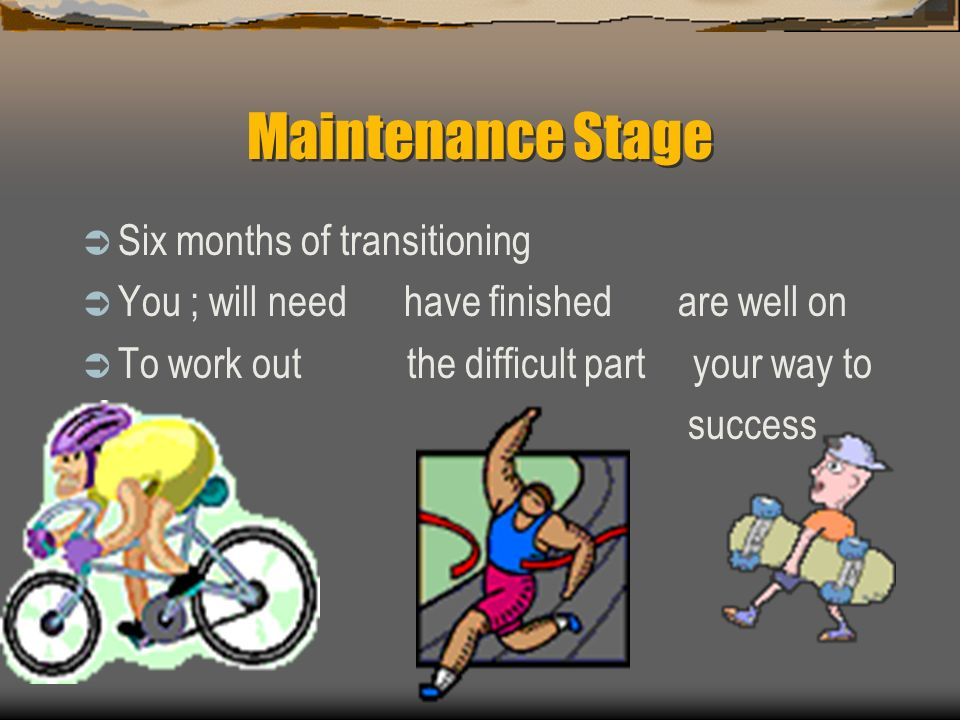 Improvement Conditioning Stage  8-20 Weeks  Percent intensity  Increase exercise duration every 2 or 3 weeks