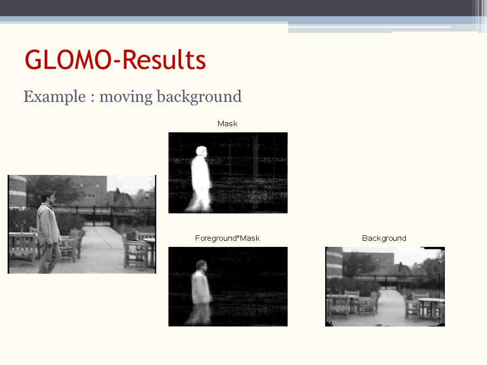 GLOMO-Results Example : moving background