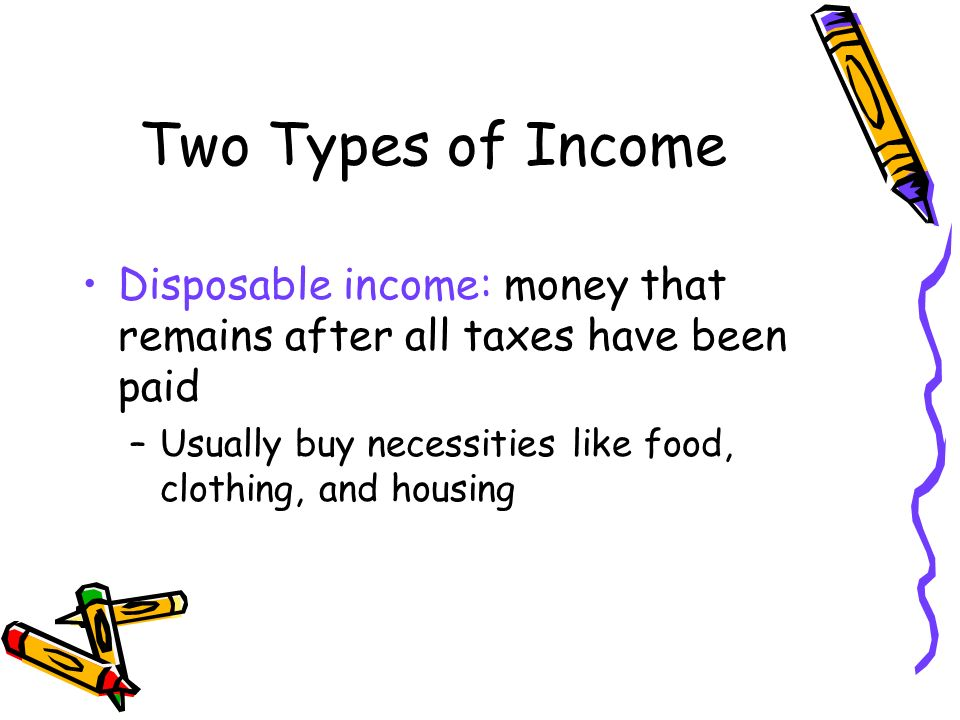 Two Types of Income Disposable income: money that remains after all taxes have been paid –Usually buy necessities like food, clothing, and housing