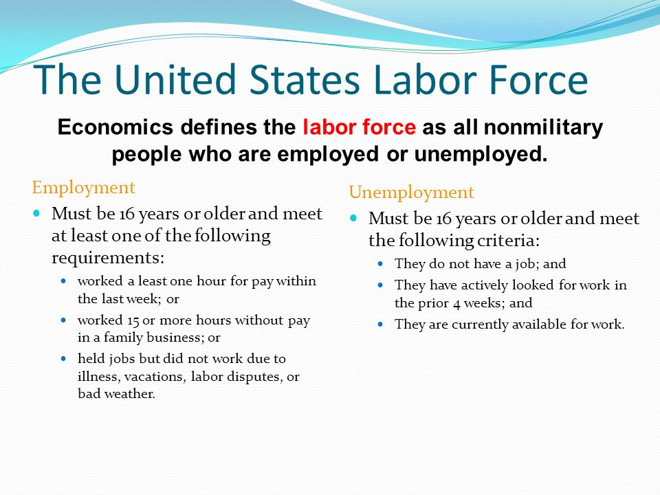 Economics defines the labor force as all nonmilitary people who are employed or unemployed.