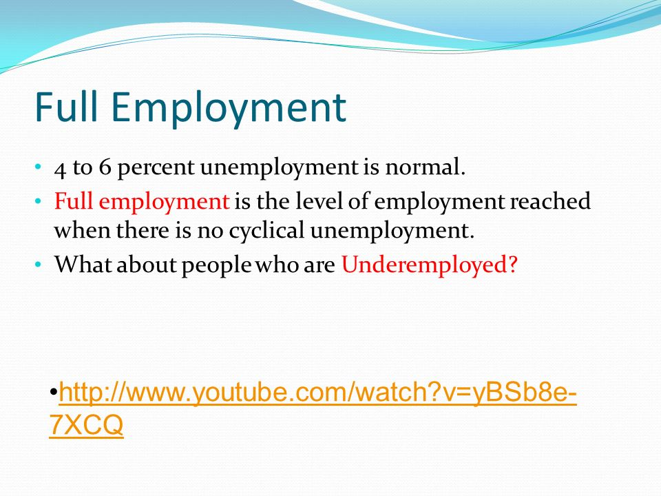 Full Employment 4 to 6 percent unemployment is normal.