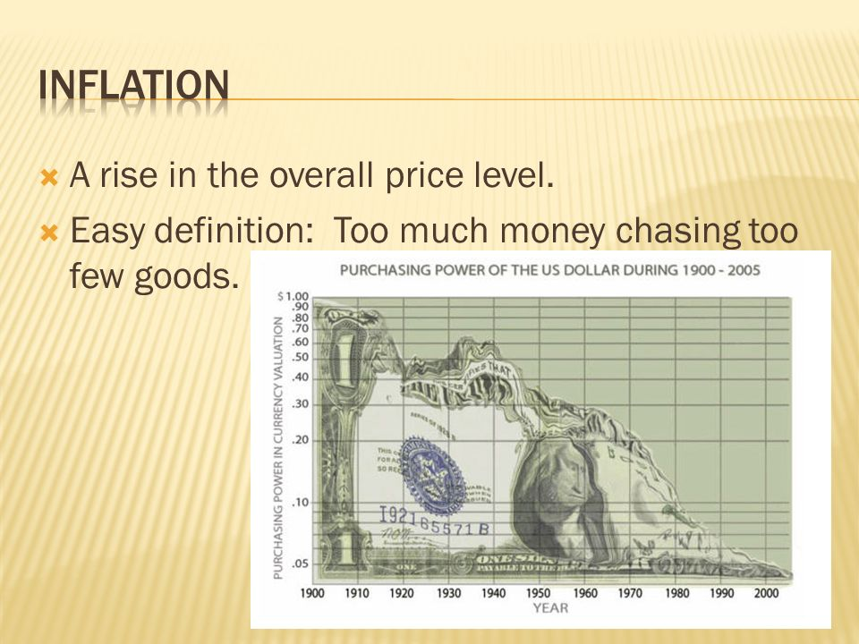  A rise in the overall price level.  Easy definition: Too much money chasing too few goods.