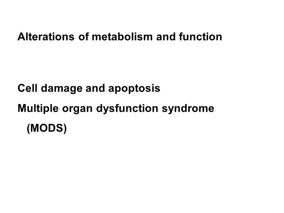 Alterations of metabolism and function Cell damage and apoptosis Multiple organ dysfunction syndrome (MODS)