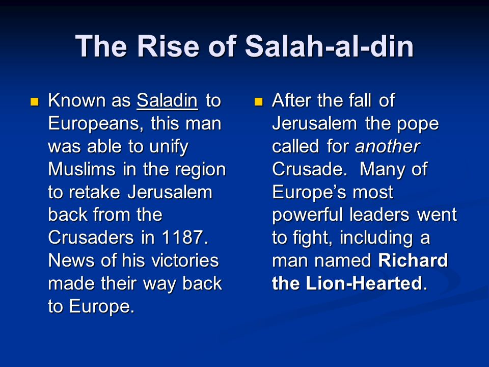 2 nd Crusade The Catholic Crusaders were successful in taking Jerusalem in the 1 st Crusade, but things changed in the 2 nd Crusade.