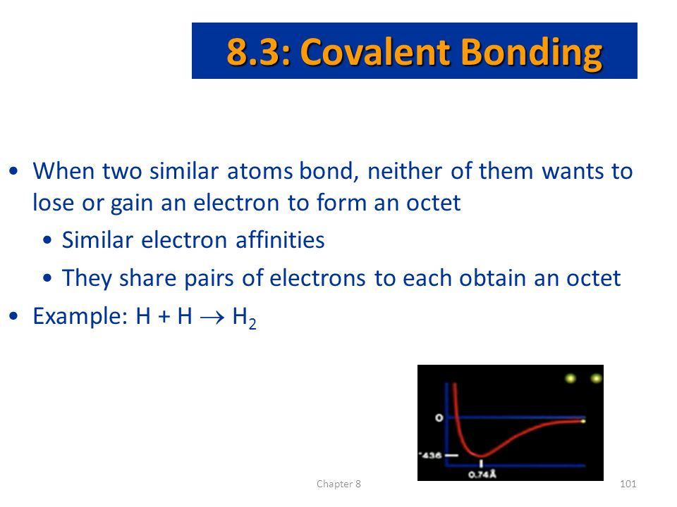 Chapter : Covalent Bonding When two similar atoms bond, neither of them wants to lose or gain an electron to form an octet Similar electron affinities They share pairs of electrons to each obtain an octet Example: H + H  H 2