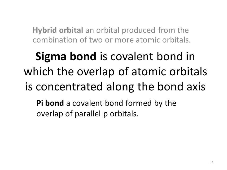 Sigma bond is covalent bond in which the overlap of atomic orbitals is concentrated along the bond axis Hybrid orbital an orbital produced from the combination of two or more atomic orbitals.