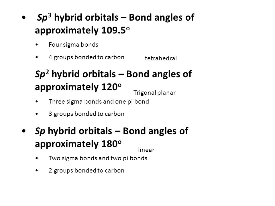 Sp 3 hybrid orbitals – Bond angles of approximately o Four sigma bonds 4 groups bonded to carbon Sp 2 hybrid orbitals – Bond angles of approximately 120 o Three sigma bonds and one pi bond 3 groups bonded to carbon Sp hybrid orbitals – Bond angles of approximately 180 o Two sigma bonds and two pi bonds 2 groups bonded to carbon tetrahedral Trigonal planar linear