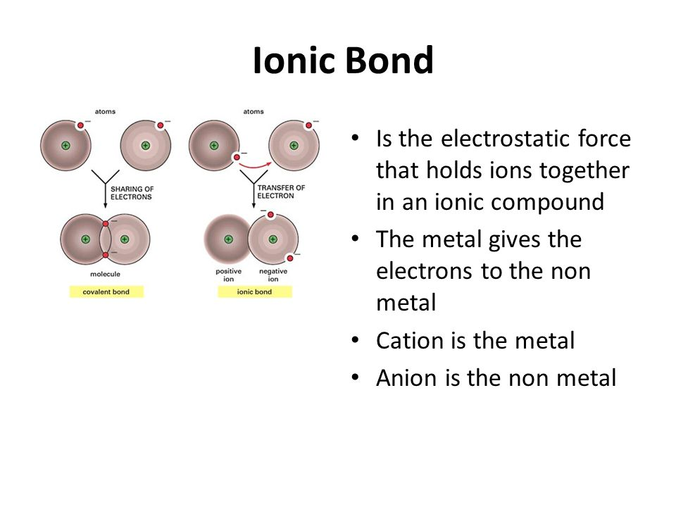 Ionic Bond Is the electrostatic force that holds ions together in an ionic compound The metal gives the electrons to the non metal Cation is the metal Anion is the non metal