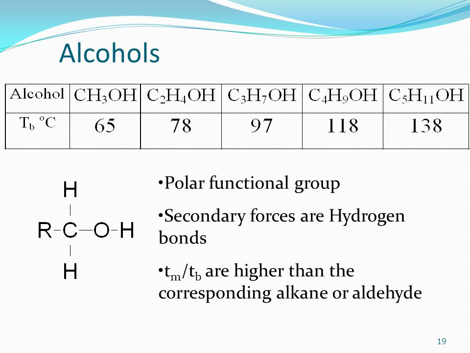 Alcohols 19 Polar functional group Secondary forces are Hydrogen bonds t m /t b are higher than the corresponding alkane or aldehyde