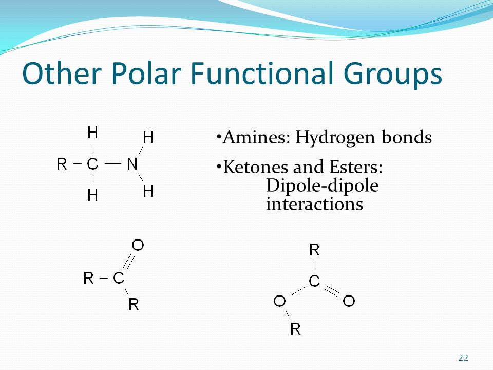 Other Polar Functional Groups 22 Amines: Hydrogen bonds Ketones and Esters: Dipole-dipole interactions