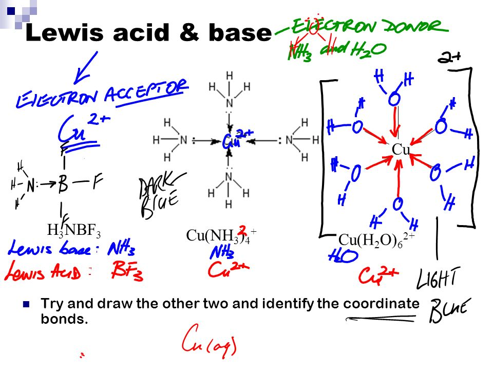 Lewis acid & base Try and draw the other two and identify the coordinate bonds.