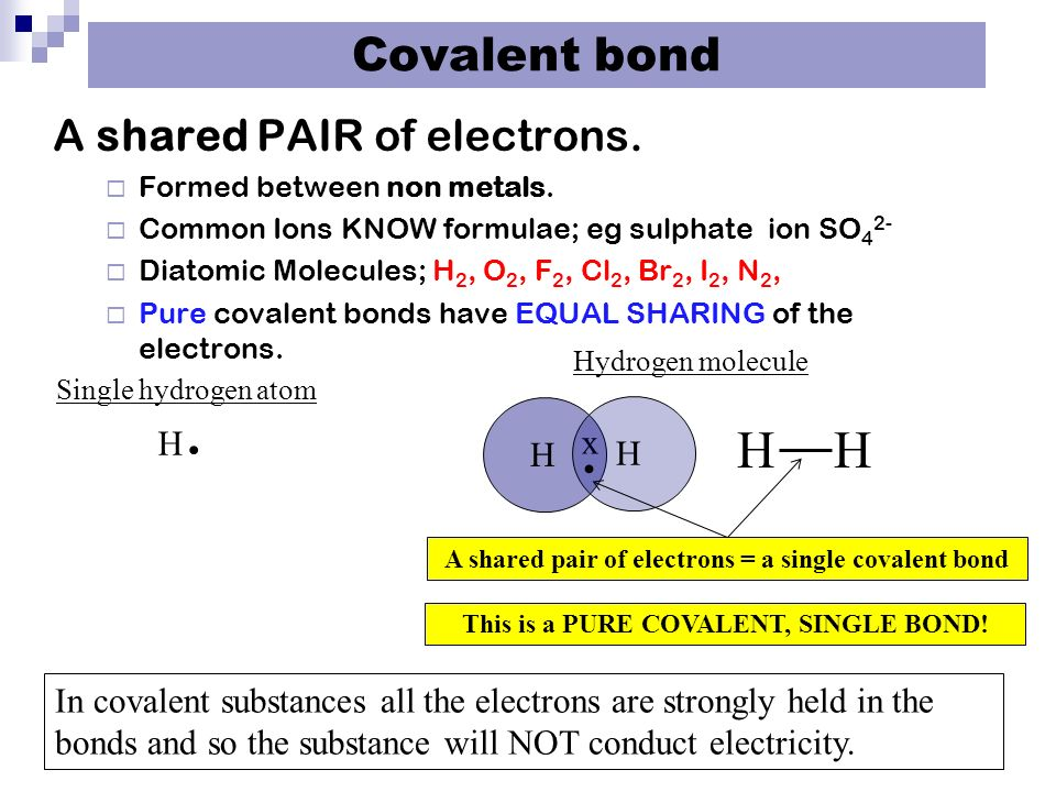 Covalent bond A shared PAIR of electrons.  Formed between