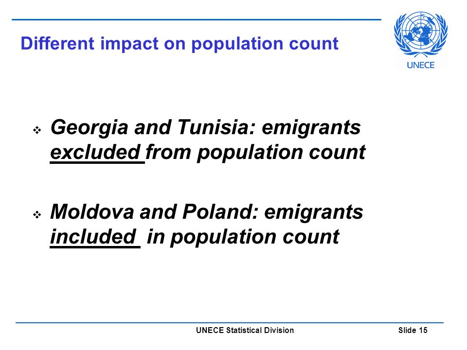UNECE Statistical Division Slide 15 Different impact on population count  Georgia and Tunisia: emigrants excluded from population count  Moldova and Poland: emigrants included in population count