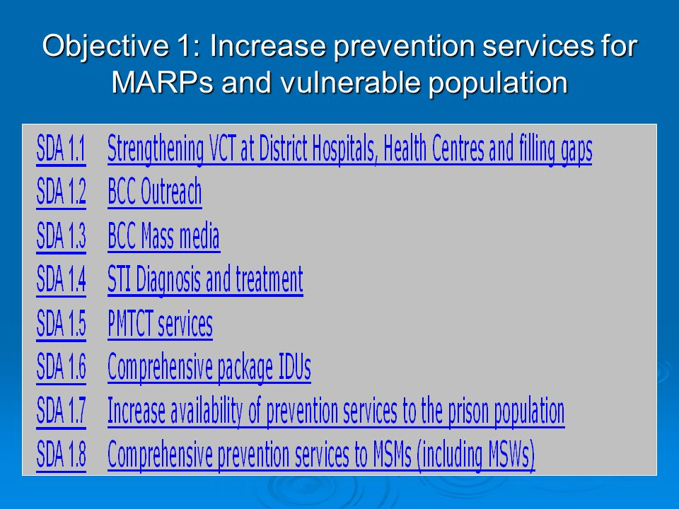 Objective 1: Increase prevention services for MARPs and vulnerable population