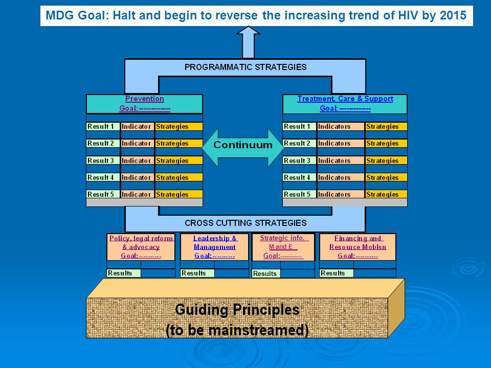 MDG Goal: Halt and begin to reverse the increasing trend of HIV by 2015 Results Strategic info, M and E Goal: