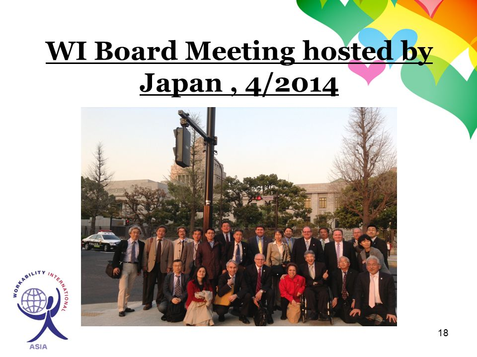18 WI Board Meeting hosted by Japan, 4/2014