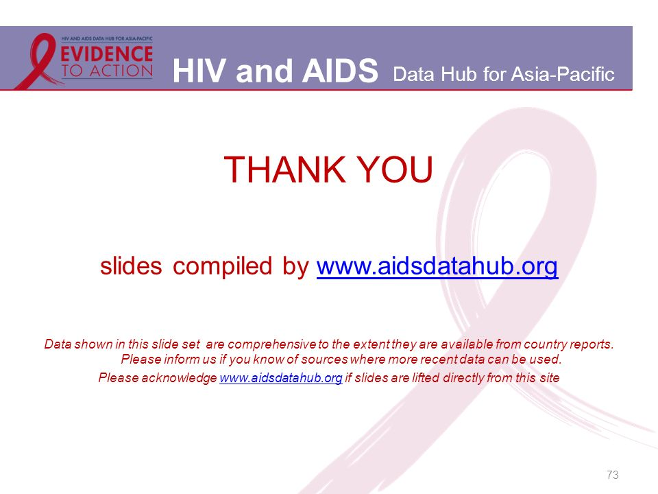 HIV and AIDS Data Hub for Asia-Pacific 73 THANK YOU slides compiled by   Data shown in this slide set are comprehensive to the extent they are available from country reports.