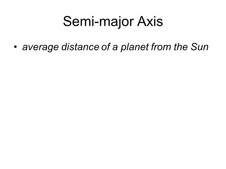 Semi-major Axis average distance of a planet from the Sun