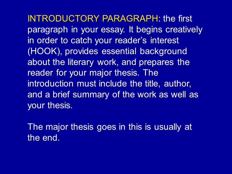 introduction paragraph for theme essay Introductory paragraphs many people feel that the introductory paragraph of an essay, (also known as the introduction), is the most important paragraph of all.