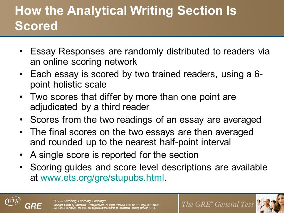 ets essay scorer Hiset writing-the essay iowa webinar may 2016 agenda •introductions •the ets scoring process •strategies for the classroom.