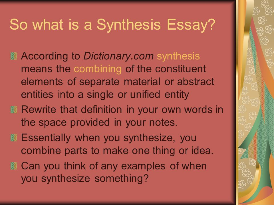 so what is a synthesis essay. Resume Example. Resume CV Cover Letter
