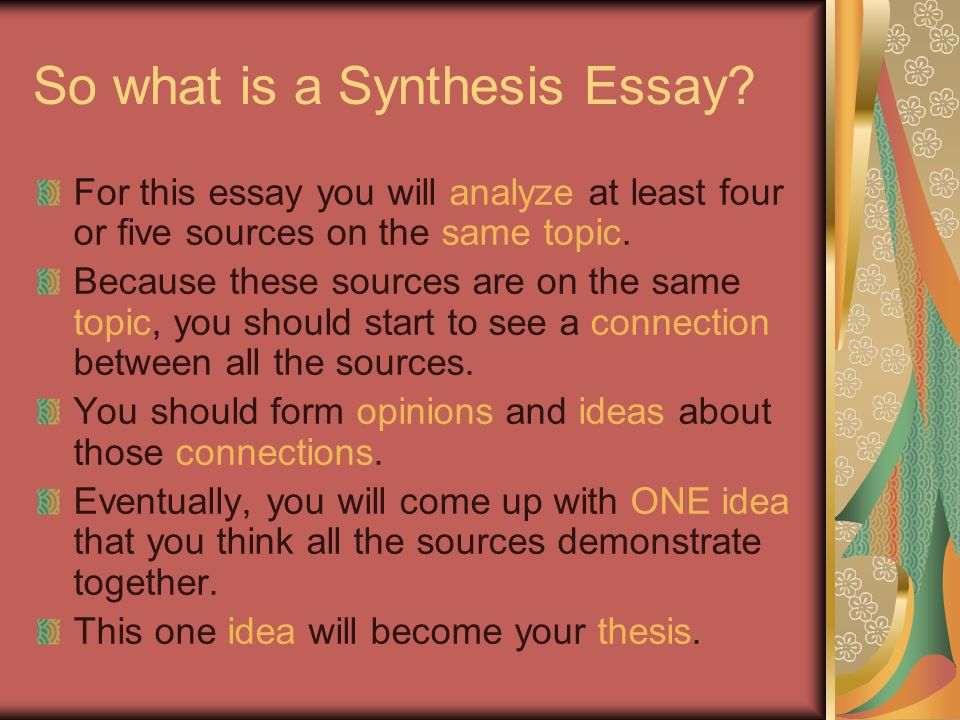 Creating Your Argumentative Synthesis Essay What Is Analysis What  So What Is A Synthesis Essay