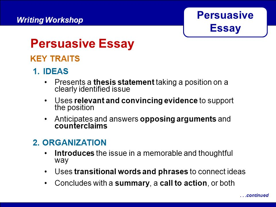 after reading key traits writing workshop persuasive essay after reading key traits writing workshop persuasive essay continued 1 ideas 2