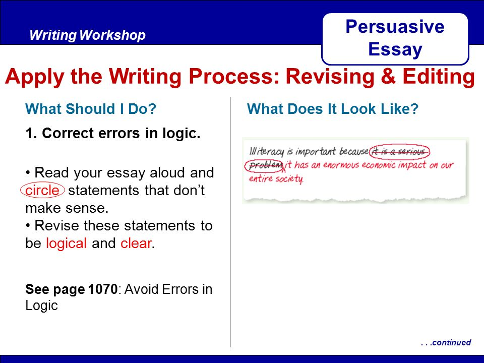 After ReadingWriting Workshop Apply the Writing Process: Revising & Editing Persuasive Essay What Should I Do.