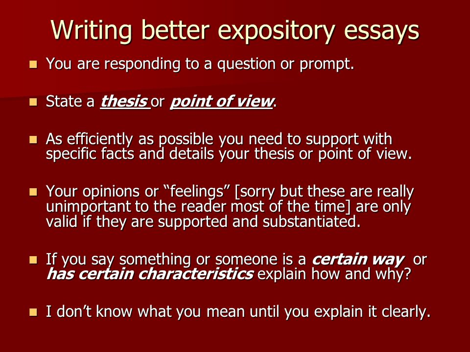 Questions To Answer  What Is A Thesis  What Does Supporting  Writing Better Expository Essays You Are Responding To A Question Or  Prompt  Introductory Paragraph Thesis Statements