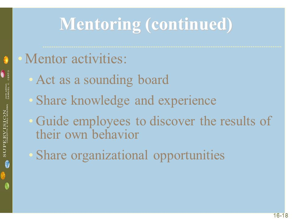 16-18 Mentoring (continued) Mentor activities: Act as a sounding board Share knowledge and experience Guide employees to discover the results of their own behavior Share organizational opportunities