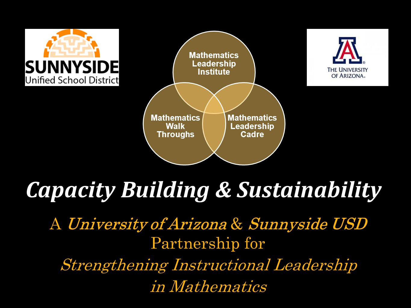 A University of Arizona & Sunnyside USD Partnership for Strengthening Instructional Leadership in Mathematics Capacity Building & Sustainability Mathematics Leadership Institute Mathematics Leadership Cadre Mathematics Walk Throughs