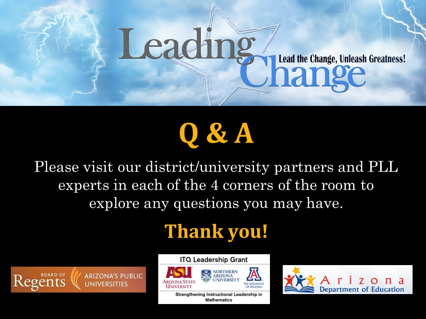 Q & A Please visit our district/university partners and PLL experts in each of the 4 corners of the room to explore any questions you may have.