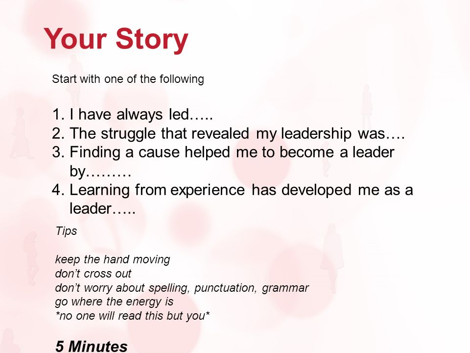 Your Story Start with one of the following 1.I have always led…..