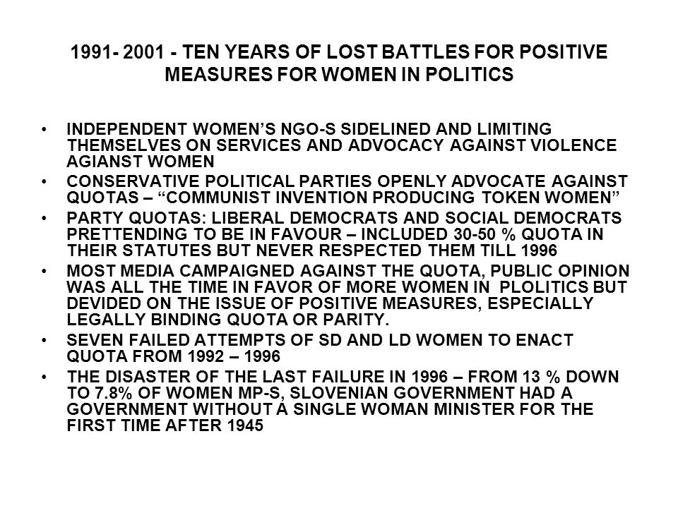 TEN YEARS OF LOST BATTLES FOR POSITIVE MEASURES FOR WOMEN IN POLITICS INDEPENDENT WOMEN'S NGO-S SIDELINED AND LIMITING THEMSELVES ON SERVICES AND ADVOCACY AGAINST VIOLENCE AGIANST WOMEN CONSERVATIVE POLITICAL PARTIES OPENLY ADVOCATE AGAINST QUOTAS – COMMUNIST INVENTION PRODUCING TOKEN WOMEN PARTY QUOTAS: LIBERAL DEMOCRATS AND SOCIAL DEMOCRATS PRETTENDING TO BE IN FAVOUR – INCLUDED % QUOTA IN THEIR STATUTES BUT NEVER RESPECTED THEM TILL 1996 MOST MEDIA CAMPAIGNED AGAINST THE QUOTA, PUBLIC OPINION WAS ALL THE TIME IN FAVOR OF MORE WOMEN IN PLOLITICS BUT DEVIDED ON THE ISSUE OF POSITIVE MEASURES, ESPECIALLY LEGALLY BINDING QUOTA OR PARITY.
