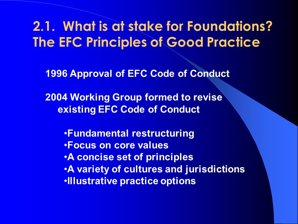 2.1.What is at stake for Foundations.