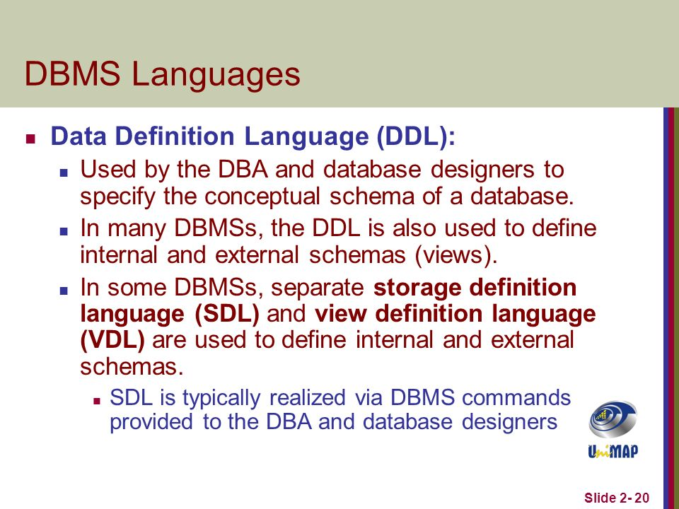 Slide 2 20 Dbms Languages Data Definition Language Ddl Used By The