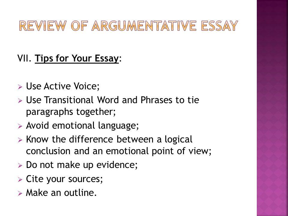 Essay on words example of good argumentative essay