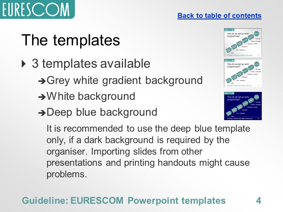 guideline for the use of the eurescom powerpoint templates, Presentation templates